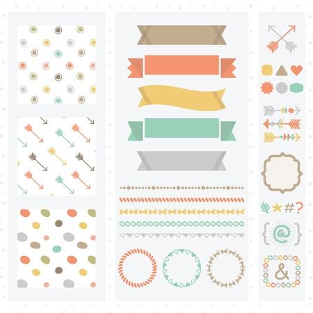 Cute light color design elements set