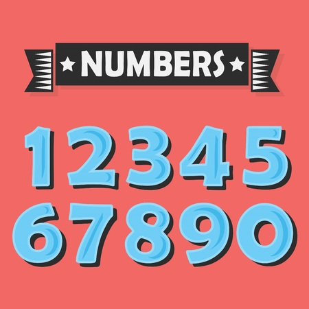 black shadow: Set of abstract blue numbers with black shadow on red coral color background