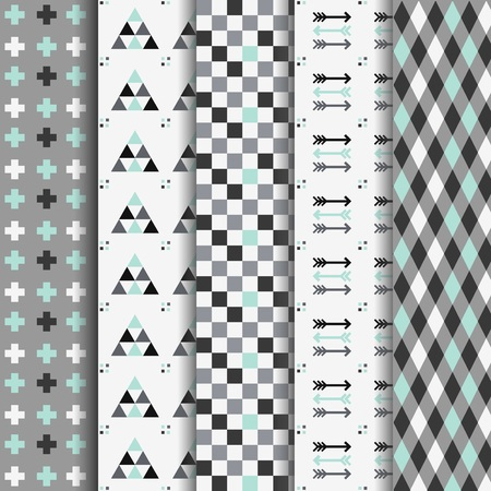 Set of abstract geometrical aztec seamless pattterns Illustration