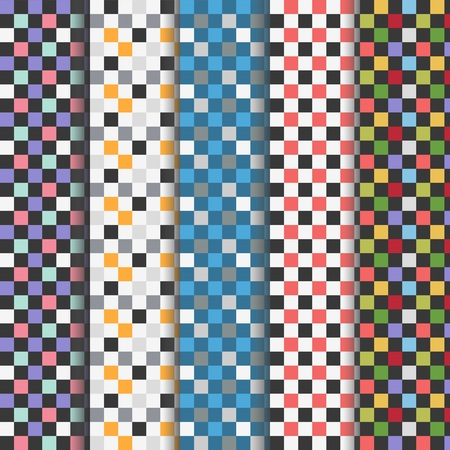 Set of abstract colorful checkered seamless patterns 向量圖像