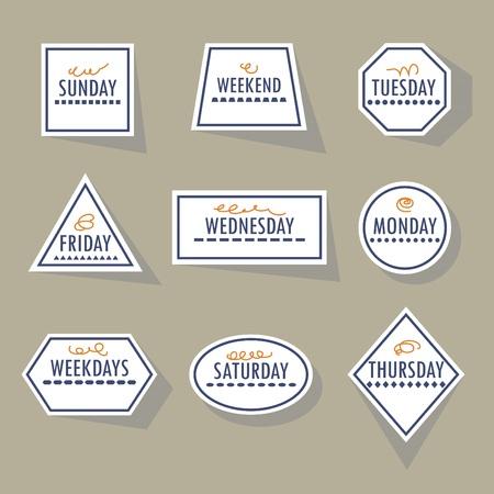 weekdays: Long shadow white geometricl weekdays stickers set on khaki background Illustration
