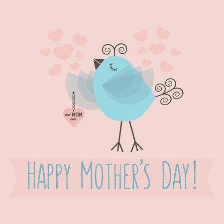 Happy Mothers day cute little bird - Best MOM ever Illusztráció