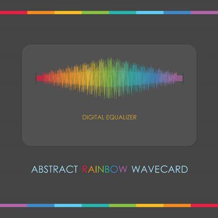 추상 디지털 이퀄라이저 카드 - 어두운 회색 배경에 여러 가지 빛깔의 무지개 물결
