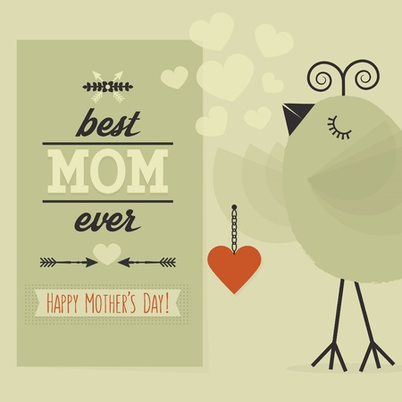 ever: Best MOM ever and Happy Mothers day card Illustration