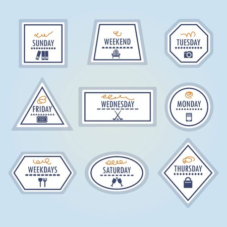 Weekdays different stickers and icons set on blue background Stock Illustratie