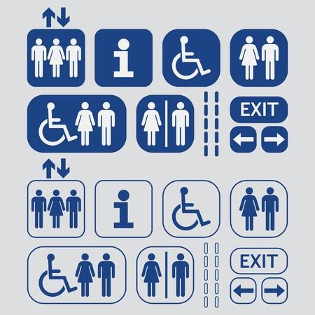 simbolo uomo donna: Linea blu e silhouette della donna e dell'uomo di accesso del pubblico icons set su sfondo grigio