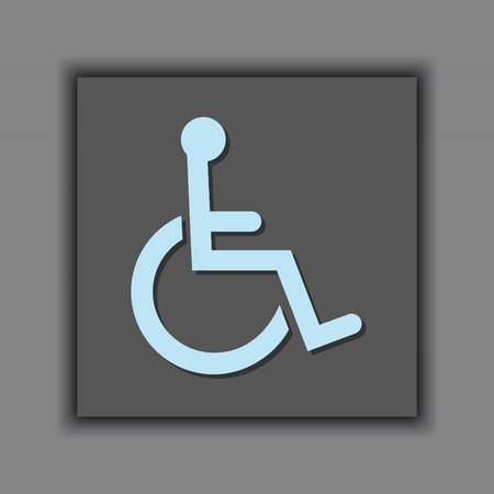 wheelchair access: Symbol of access icon on gray background - International wheelchair symbol Illustration