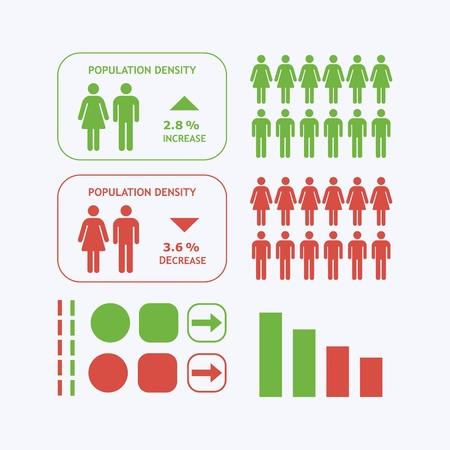 circulo de personas: Iconos de la silueta Hombre y Mujer - Densidad de poblaci�n elementos de dise�o infogr�ficas Vectores