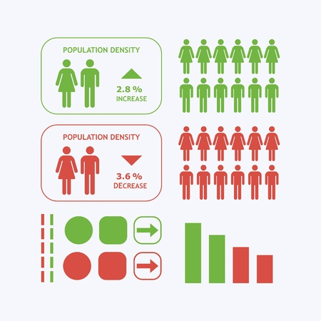 white people: Male and Female silhouette icons - Population density infographic design elements