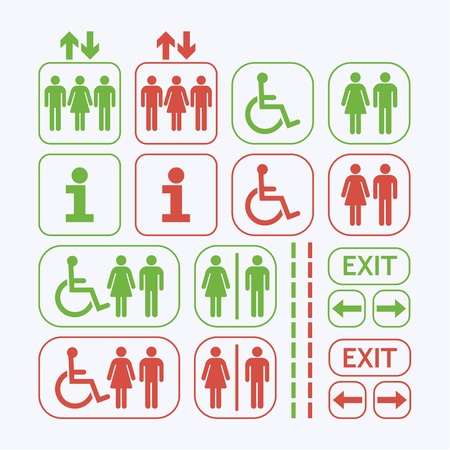 woman toilet: Line Man and Woman public access icons set on off white background