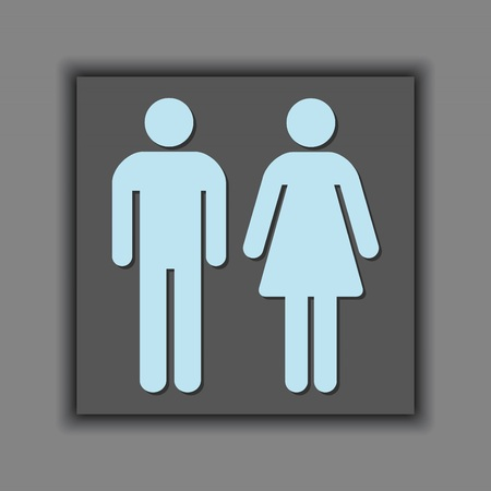 Male and Female universal silhouette sign icon 일러스트