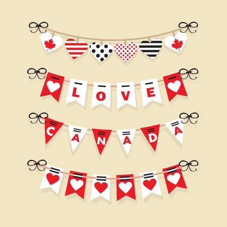 festive: Canada Day buntings and festive garlands decoration icons set Illustration