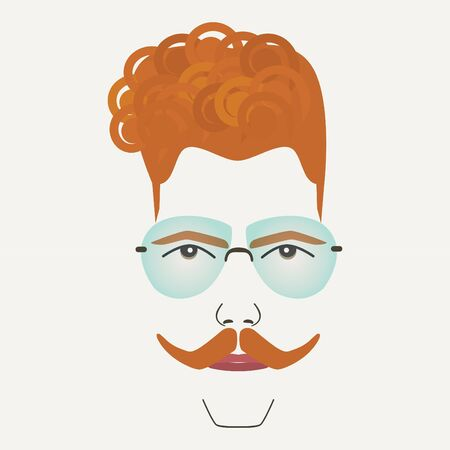 frame less: Young red hair hipster male with frame less glasses Illustration