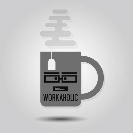 workaholic: Workaholic Mug  Abstract single mug icon with tea bag and some steam on gray gradient background