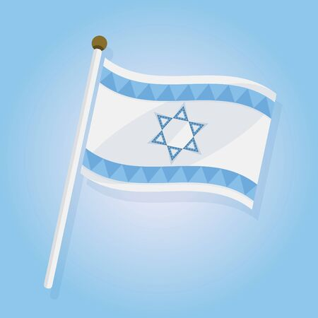Abstract tilted Isreal flag icon on blue gradient background
