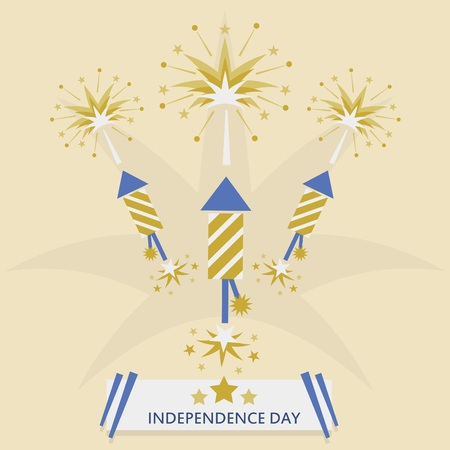 Independence Day with rocket fireworks  Golgen flat design with message banner