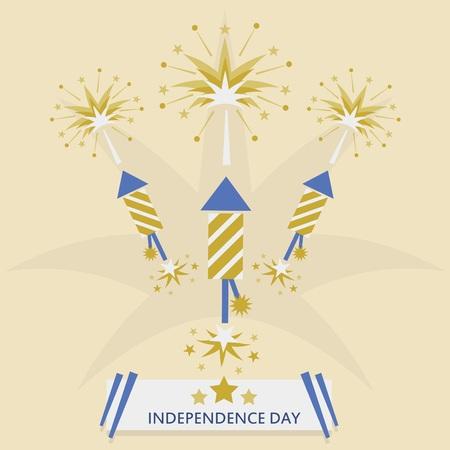 Independence Day with rocket fireworks  Golgen flat design with message banner