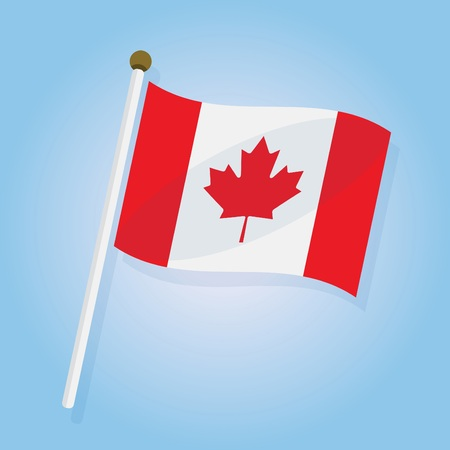 tilted: Abstract tilted Canada flag icon on blue gradient background Illustration