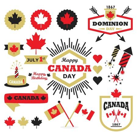 canada leaf: Happy Canada Day design elements set