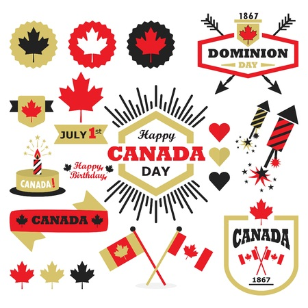 Happy Canada Day design elements set