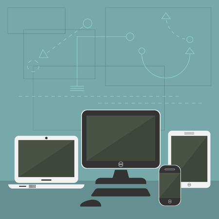 cellphone: Modern Digital Devices  Tablet cellphone monitor and laptop with graphical shapes backgroud