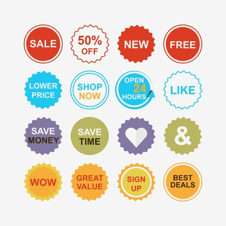 signup: Colorful retail and shopping attention tags icons set