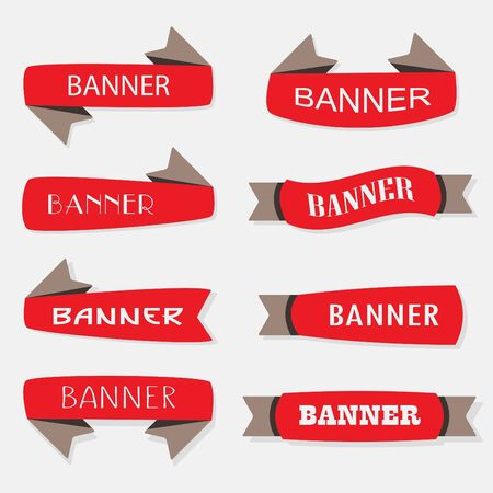 inflated: Red inflated ribbon banners icons set in different shapes Illustration