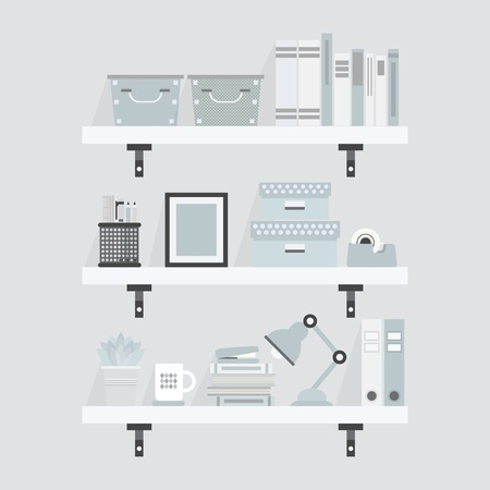 Pretty white and teal shelves and decoration objects  Flat design