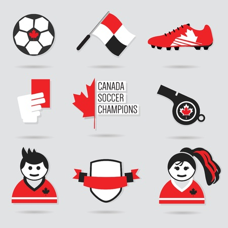 soccer referees hand with red card: Canada Soccer icons and design element set  Modern flat red black and white Illustration