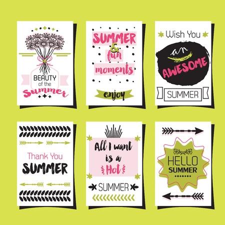 Summer greetings template journaling cards set