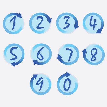 clockwise: Blue circle hand written numbers set with brushed turning clockwise rotation arrow borders