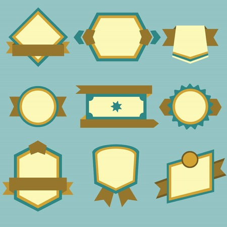 scraping: Flat modern labels and ribbons set on blue background