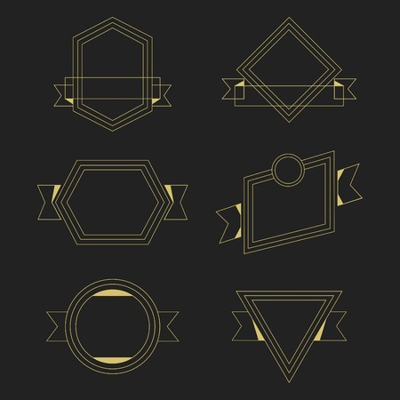 Golden thin line empty geometrical banners design elements set Иллюстрация