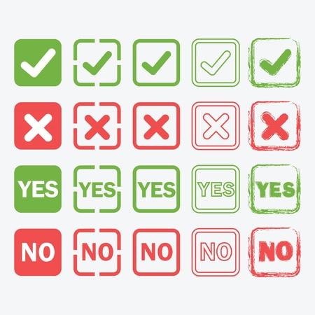 cheque en blanco: S� y No iconos cuadrados en silueta y contorno estilos fijaron Vectores