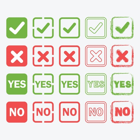 yes or no: Yes and No square icons in silhouette and outline styles set Illustration