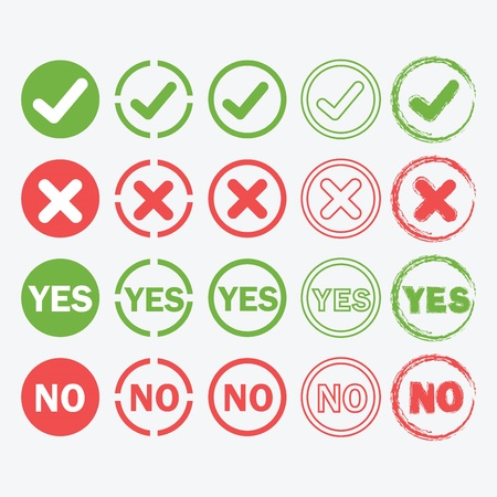 yes or no: Yes and No circle icons in silhouette and outline styles set Illustration
