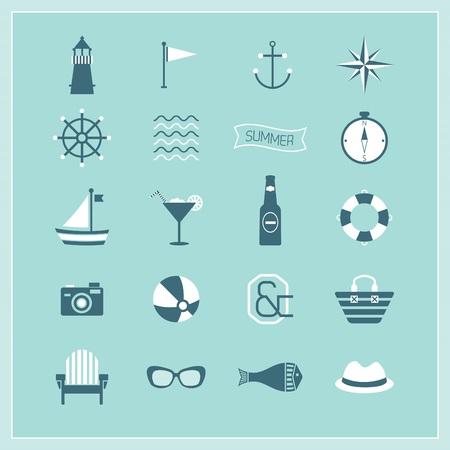 Blue Summer Naval and Beach icons set Иллюстрация
