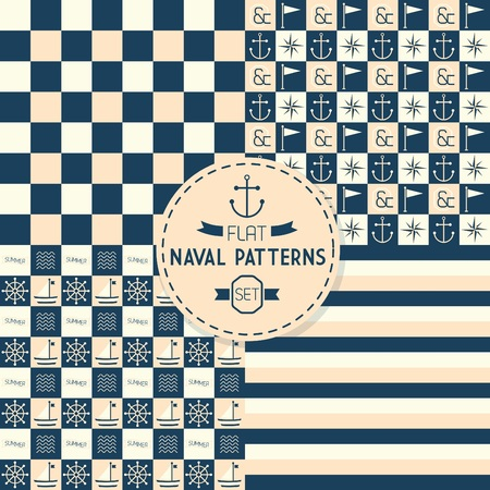 scrapping: Abstract naval symbols stripes and checkered seamless patterns Illustration