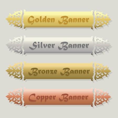 headings: Beautiful Golden Silver Bronze and Copper floral beveled banners set