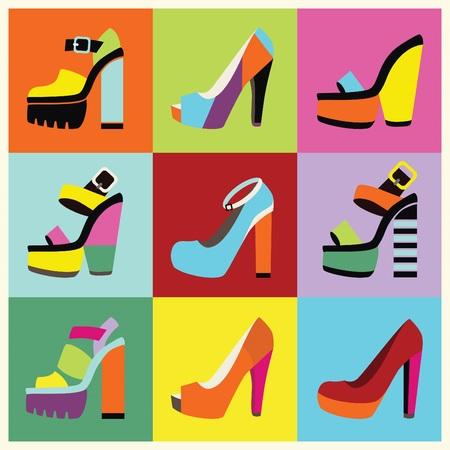 Plataforma retro mujeres pop-art zapatos de tacón alto del cartel Ilustración de vector