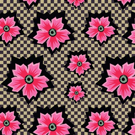 Retro pink exotic flowers on checkered background pattern