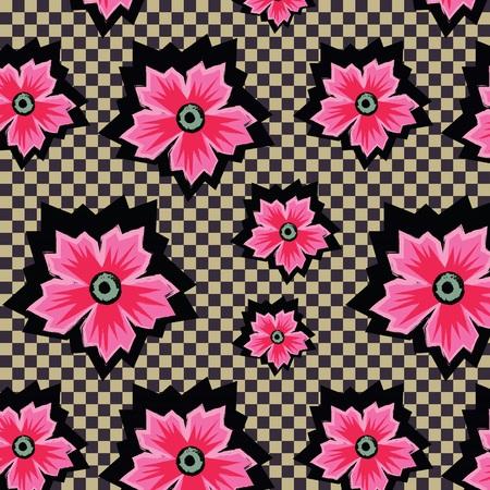flores exoticas: Retro flores ex�ticas de color rosa sobre fondo a cuadros patr�n