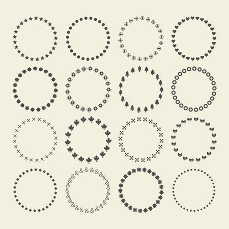원 테두리 장식 기호 패턴 및 디자인 요소의 집합