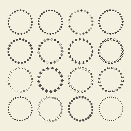 Set of circle border decorative symbol patterns and design elements