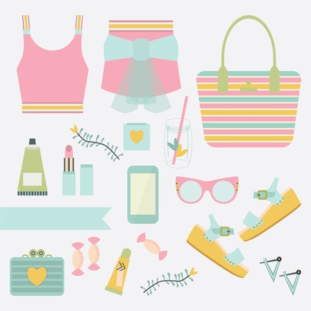 Pink and teal ladies summer fashion clothing and accessories set