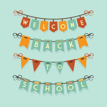 bunting flags: Welcome Back To School buntings and garlands decoration set Illustration