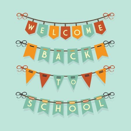 Willkommen zurück zu Schule Ammern und Girlanden Garnitur Standard-Bild - 43273930