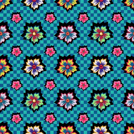 Retro exotic colorful flowers on blue checkered background pattern