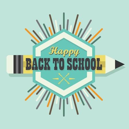 sun burst: Happy Back To School colorful sun burst emblem a pencil icon
