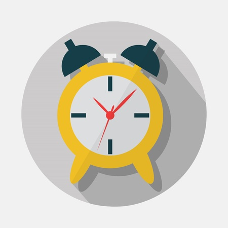 mechanical back: Alarm clock icon with long shadow on gray background